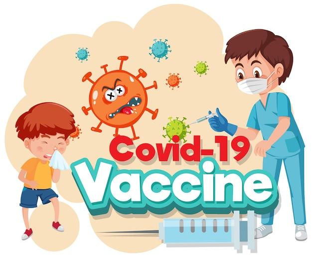 Postać z kreskówki lekarza i dziecka z czcionką szczepionki covid-19