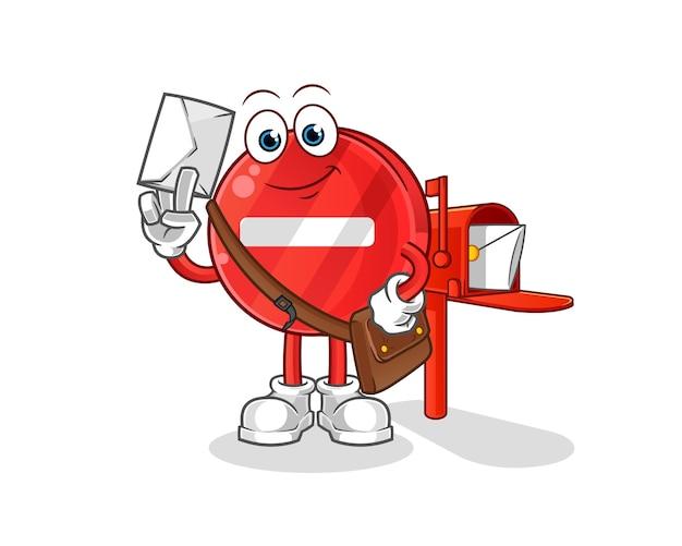 Postać z kreskówki listonosza znak stop