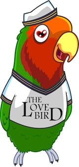 Postać z kreskówki lovebird marynarz. ilustracja na białym tle