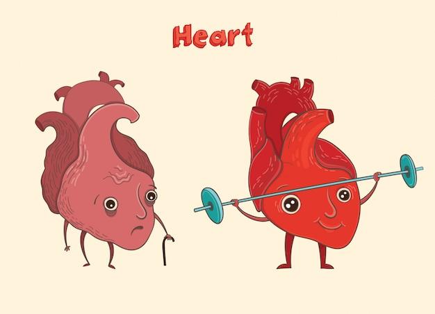 Postać z kreskówki ludzkiego serca