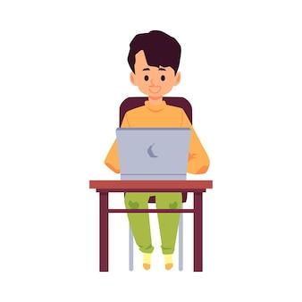 Postać z kreskówki małego chłopca lub nastolatka siedzi przy stole i za pomocą laptopa