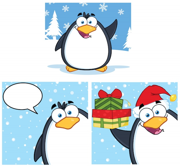 Postać z kreskówki maskotka pingwina