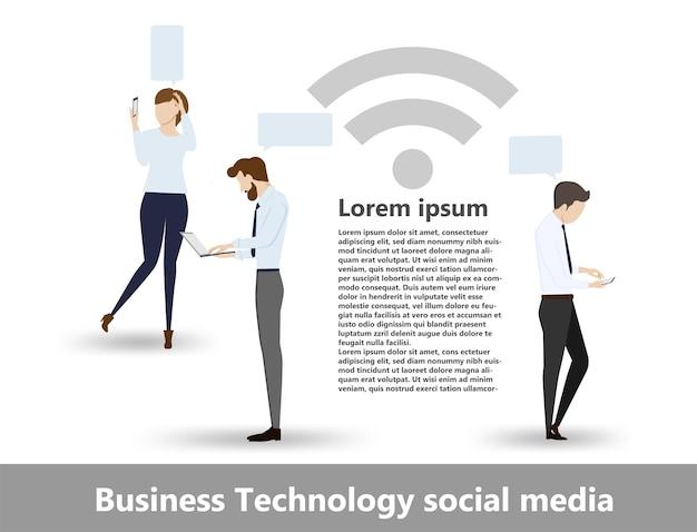 Postać z kreskówki mediów społecznych biznesu technologii