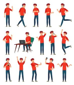 Postać z kreskówki mężczyzna nastolatek. nastoletni chłopak w różnych pozach i działaniach