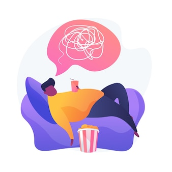 Postać z kreskówki mężczyzna z nadwagą, leżąc na fotelu i sody do picia. brak aktywności fizycznej, pasywny tryb życia, zły nawyk. siedzący tryb życia.