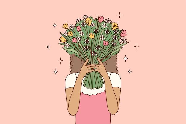 Postać z kreskówki młoda dziewczyna african american kobieta zakrywająca twarz, chowając się za bukietem kwiatów.