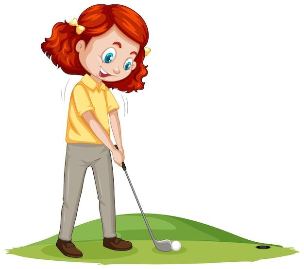 Postać z kreskówki młodego gracza w golfa gra w golfa