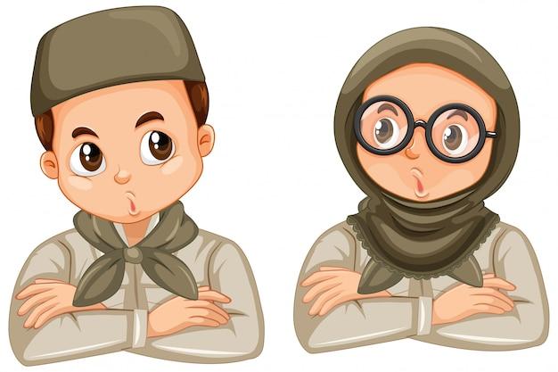 Postać z kreskówki młodego muzułmańskiego studenta