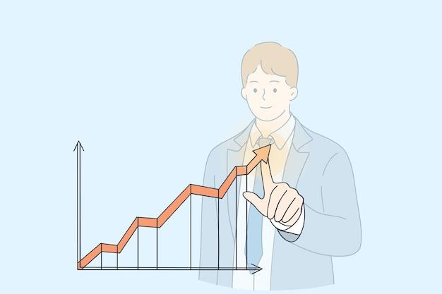 Postać z kreskówki młody biznesmen wskazujący wykres strzałki