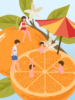 Postać z kreskówki młodych ludzi na świeżych pomarańczowych owocach podczas wakacji letnich, ciesząc się z przyjacielem