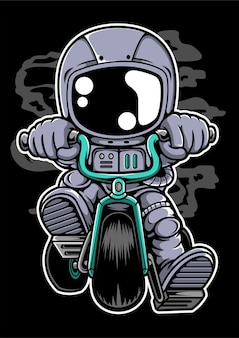 Postać z kreskówki motocyklisty astronauta