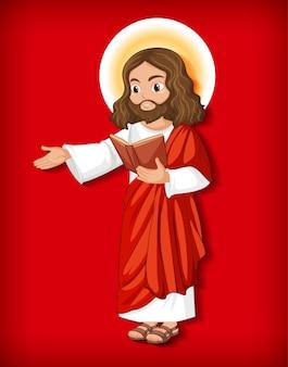Postać z kreskówki na białym tle jezusa