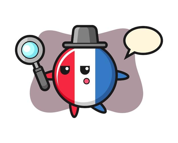 Postać z kreskówki odznaka flaga francji wyszukiwanie za pomocą lupy