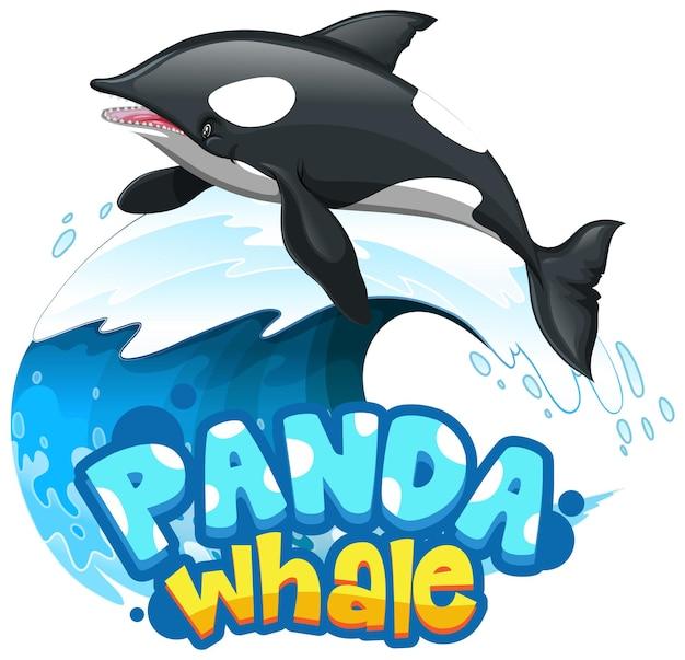 Postać z kreskówki orca lub killer whale z izolowanym banerem czcionki panda whale