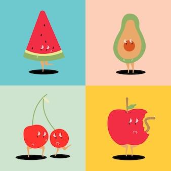 Postać z kreskówki owoców tropikalnych wektor zestaw