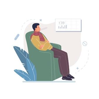Postać z kreskówki pacjenta, chory koncepcja leczenia i terapii