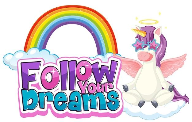 Postać z kreskówki pegaza z banerem czcionki follow your dreams