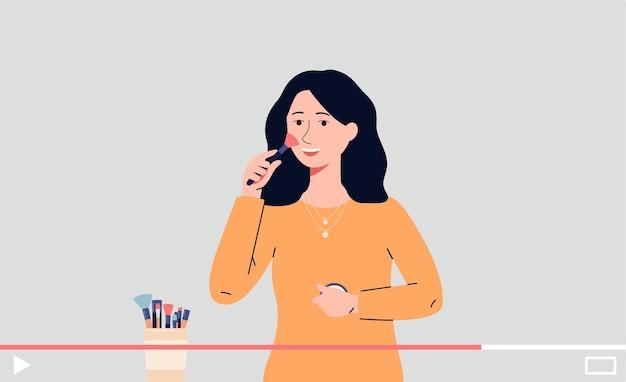 Postać z kreskówki piękna blogerka pokazująca porady dotyczące makijażu