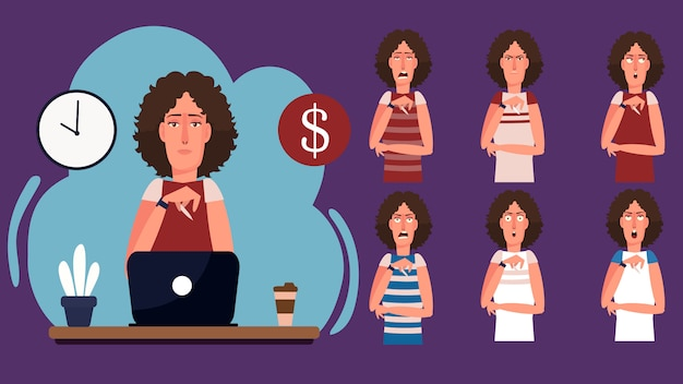 Postać z kreskówki piękna młoda kobieta pracuje grafik w miejscu pracy. wyraz twarzy freelance koncepcja pracy z czasem