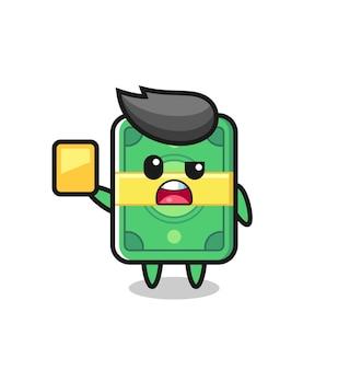 Postać z kreskówki pieniędzy jako sędzia piłkarski dający żółtą kartkę, ładny styl na koszulkę, naklejkę, element logo