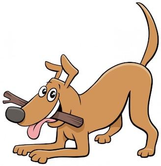 Postać z kreskówki pies komiks zwierząt z kijem