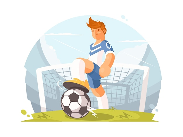 Postać z kreskówki piłkarz. gracz z piłką na zielonym trawniku. ilustracja