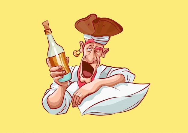 Postać z kreskówki pirata maskotka pijany budzi się