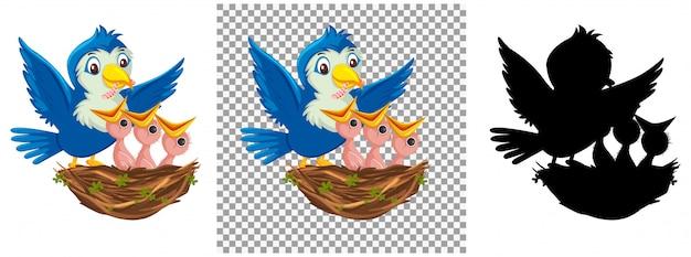 Postać Z Kreskówki Piskląt Ptaków Premium Wektorów