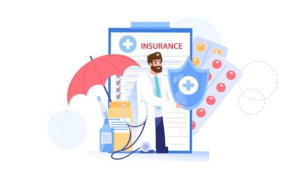 Postać z kreskówki płaski lekarz oferuje ilustrację ubezpieczenia zdrowotnego