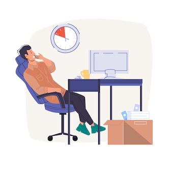 Postać z kreskówki płaski pracownik na scenie stresu w pracy