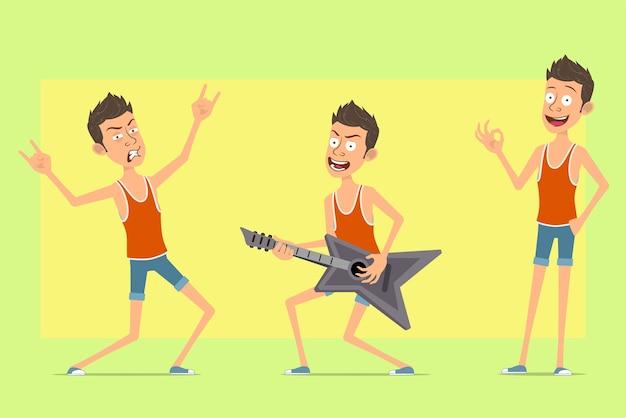 Postać z kreskówki płaski zabawny człowiek w podkoszulek i spodenki. chłopiec gra na gitarze i pokazuje rock and rolla, znak ok.