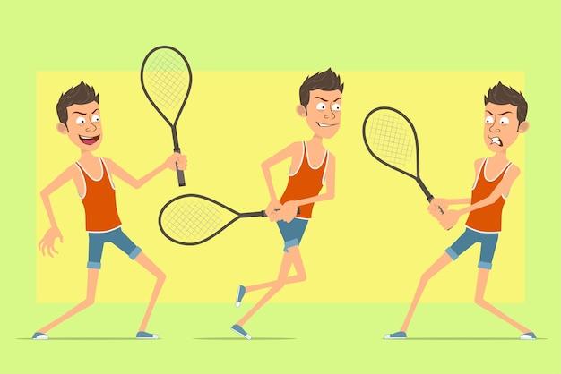 Postać z kreskówki płaski zabawny człowiek w podkoszulek i spodenki. chłopiec skacze, bieganie i gra z rakietą tenisową.