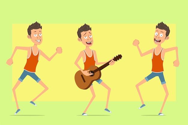 Postać z kreskówki płaski zabawny człowiek w podkoszulek i spodenki. chłopiec skacze, tańczy i gra na gitarze.