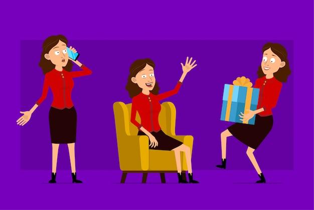 Postać z kreskówki płaski zabawny ładny biznes kobieta w czerwonej koszuli. gotowy do animacji. dziewczyna siedzi na kanapie z telefonem i niosąc prezent. na białym tle na fioletowym tle. duży zestaw ikon.