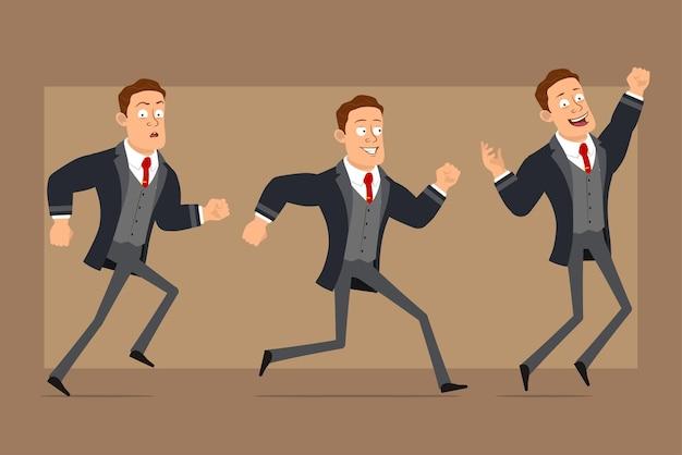 Postać z kreskówki płaski zabawny silny biznesmen w czarny płaszcz i krawat. chłopiec działa szybko do przodu i podskakuje.