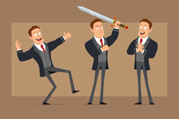 Postać z kreskówki płaski zabawny silny biznesmen w czarny płaszcz i krawat. chłopiec pozuje, trzyma wielki miecz i pokazuje kciuk w górę znak.