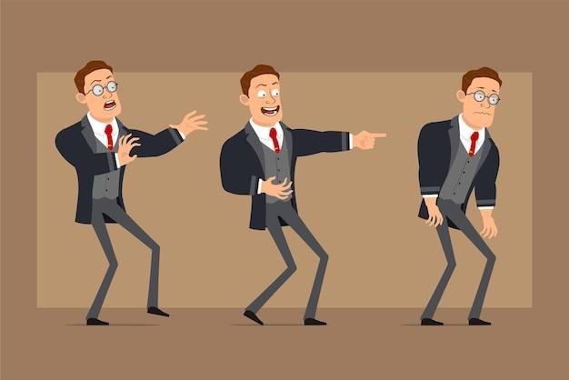 Postać z kreskówki płaski zabawny silny biznesmen w czarny płaszcz i krawat. chłopiec przestraszony, smutny, zmęczony i pokazujący zły uśmiech.