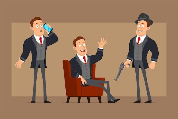 Postać z kreskówki płaski zabawny silny biznesmen w czarny płaszcz i krawat. chłopiec trzyma rewolwer retro i rozmawia przez telefon.
