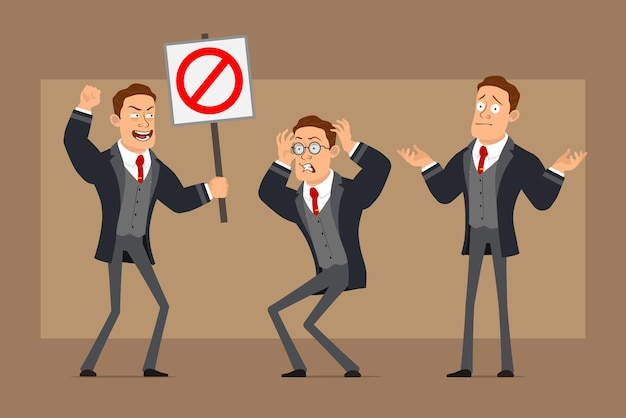 Postać z kreskówki płaski zabawny silny biznesmen w czarny płaszcz i krawat. chłopiec zły, nieporozumienie i brak znaku stopu wjazdu.