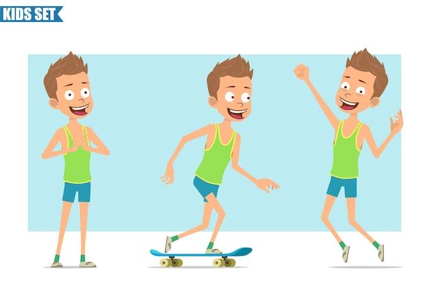 Postać z kreskówki płaski zabawny sport chłopiec w zielonej koszuli i spodenkach. dzieciak pozowanie, jazda na deskorolce i skoki.