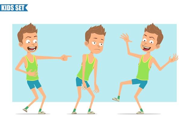 Postać z kreskówki płaski zabawny sport chłopiec w zielonej koszuli i spodenkach. dzieciak smutny, zmęczony, śmiejący się, skaczący i tańczący.