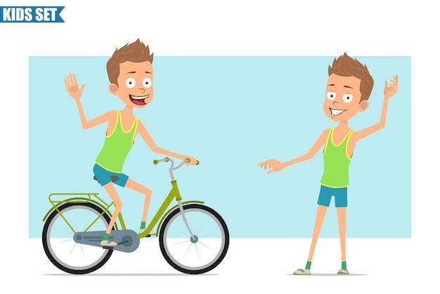 Postać z kreskówki płaski zabawny sport chłopiec w zielonej koszuli i spodenkach. dziecko, bieganie i jazda na rowerze.