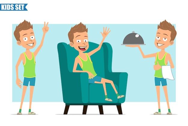 Postać z kreskówki płaski zabawny sport chłopiec w zielonej koszuli i spodenkach. dziecko odpoczywa, trzymając tacę kelnera i pokazując znak pokoju.