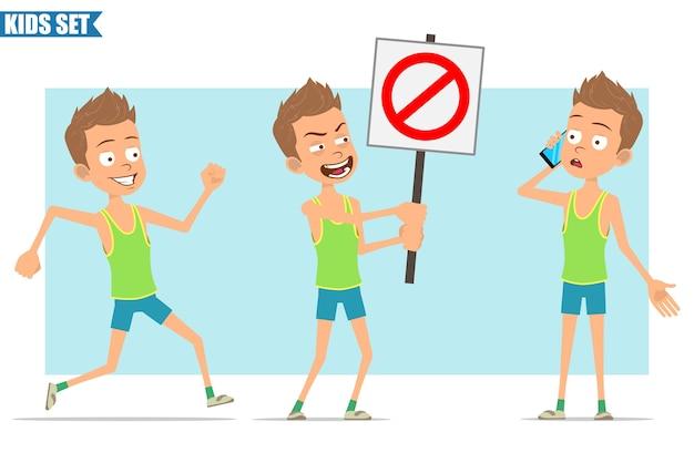 Postać z kreskówki płaski zabawny sport chłopiec w zielonej koszuli i spodenkach. dziecko rozmawia przez telefon, biegnie i nie trzyma znaku stopu wejścia.
