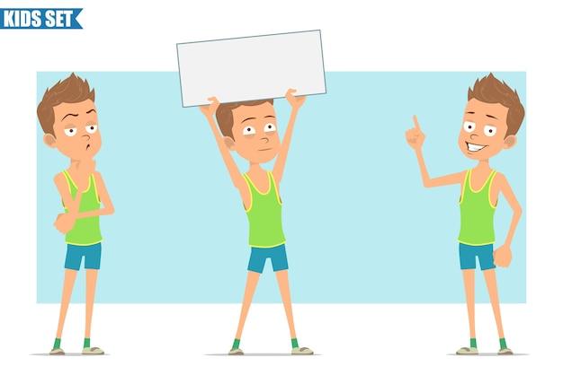 Postać z kreskówki płaski zabawny sport chłopiec w zielonej koszuli i spodenkach. dziecko stoi, myśli i trzyma pusty biały znak tekstu.