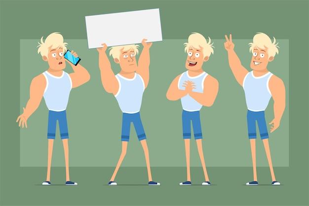 Postać z kreskówki płaskie śmieszne mocne blond sportowca w podkoszulku i szortach. chłopiec myśli, pozowanie i trzymając pusty znak tekstu. gotowy do animacji. na białym tle na zielonym tle. zestaw.