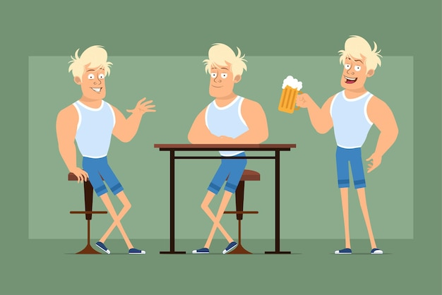 Postać z kreskówki płaskie śmieszne mocne blond sportowca w podkoszulku i szortach. chłopiec odpoczywa i trzyma kubek z piwem i pianą. gotowy do animacji. na białym tle na zielonym tle. zestaw.