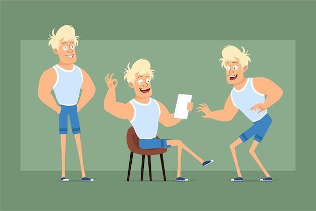 Postać z kreskówki płaskie śmieszne mocne blond sportowca w podkoszulku i szortach. chłopiec pozuje, skrada się i czyta papierową notatkę. gotowy do animacji. na białym tle na zielonym tle. zestaw.