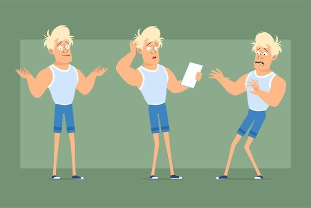 Postać z kreskówki płaskie śmieszne mocne blond sportowca w podkoszulku i szortach. chłopiec przestraszony, zły i czytający notatkę papierową. gotowy do animacji. na białym tle na zielonym tle. zestaw.