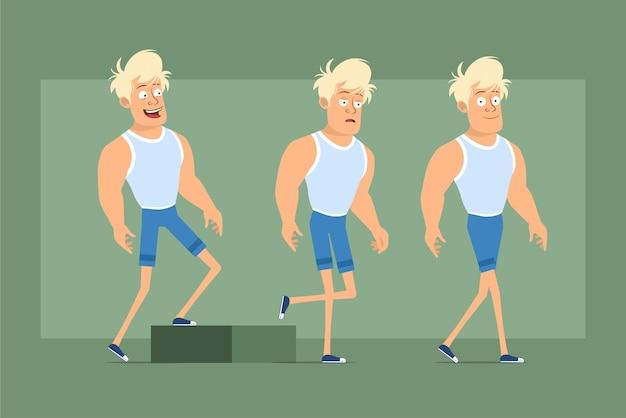 Postać z kreskówki płaskie śmieszne mocne blond sportowca w podkoszulku i szortach. pomyślny zmęczony chłopiec podchodzi do celu. gotowy do animacji. na białym tle na zielonym tle. zestaw.